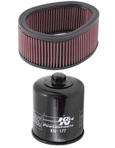 K&N Motorcycle Air Filter  Oil Filter Combo 2004-2008 Buell Lightning XB12S BU-9003  KN-177