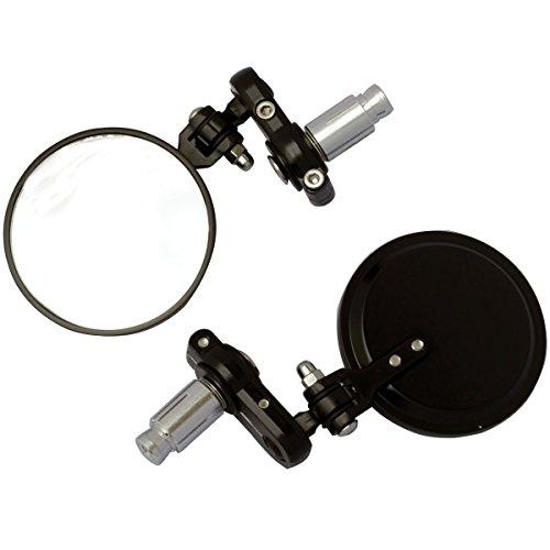 MotorToGo 3 Black Round Foldable Handle Bar Mirrors for 2004 Buell Lightning Low XB9SL