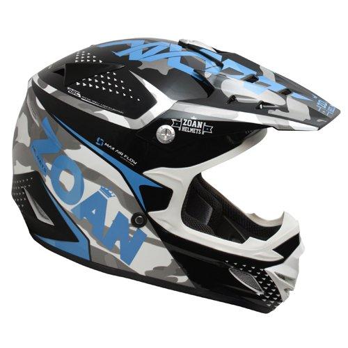 Zoan MX-1 Sniper Black Blue Offroad Motocross Motorcycle Riding Helmet Large