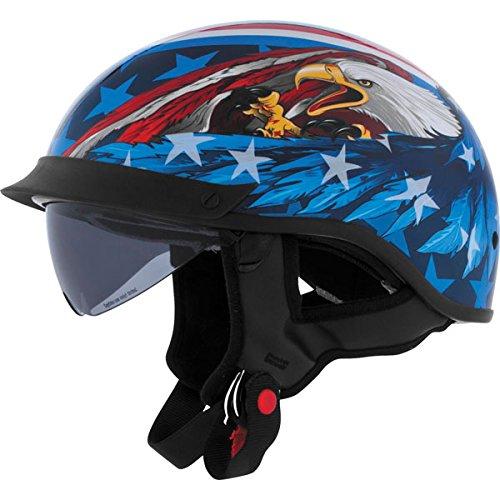 Cyber Helmets Leathal Threat U-72 Eagle Helmet with Internal Shield  Helmet Type Half Helmets Helmet Category Street Distinct Name US Eagle Primary Color Blue Size Lg Gender MensUnisex 640873