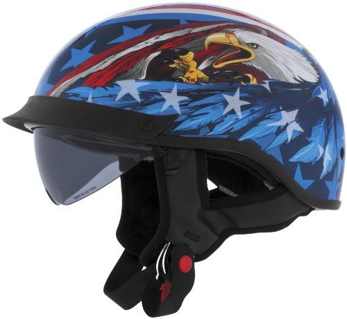 Cyber Helmets Leathal Threat U-72 Eagle Helmet with Internal Shield  Helmet Type Half Helmets Helmet Category Street Distinct Name US Eagle Primary Color Blue Size XS Gender MensUnisex 640870