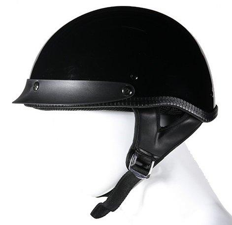 DOT GlossShiny Black Motorcycle Half Helmet with Visor Size S SM Small