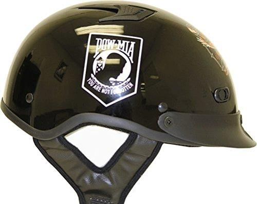 DOT POW-MIA Vented Black Motorcycle Half Helmet with Visor Size L LG Large