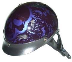 DOT Purple Boneyard Motorcycle Half Helmet with Visor Size XL X-Large
