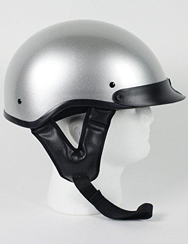 DOT Silver Gray Motorcycle Half Helmet with Visor Size M MD Medium