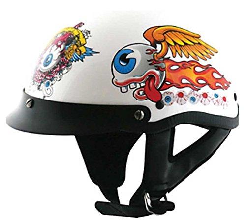 HCI Flying Eye Motorcycle Half Helmet with Visor - ABS Shell White 100-142 XXS