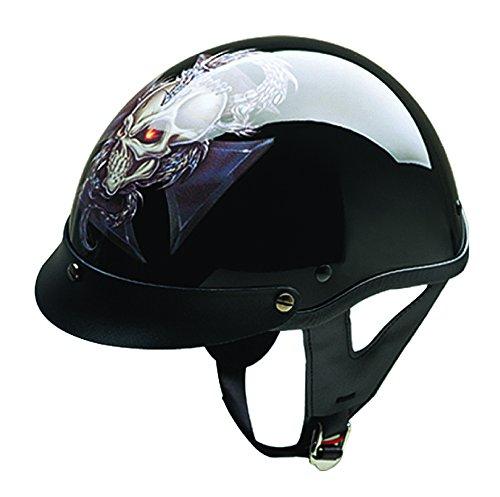 HCI HCI-100 Dragon Cross Half Helmet with Visor Gloss Black Graphic Small