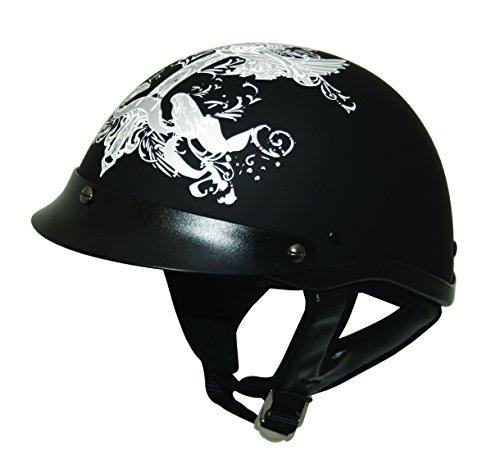 HCI HCI-100 Iron Wings Half Helmet with Visor Matte BlackSilver Graphic X-Small