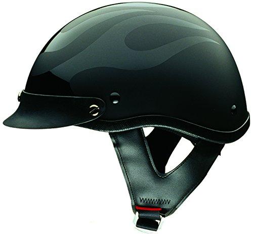 HCI HCI-100 Matte Black Half Helmet with Visor Matte BlackGloss Flame XX-Large