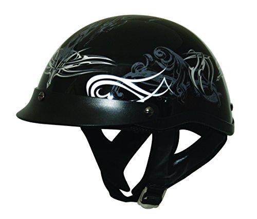 HCI HCI-100 Tribal Half Helmet with Visor Black Silver and White XX-Large