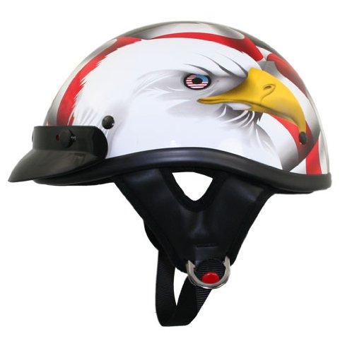Outlaw DOT T-70 American Eagle Flag Half Helmet with Visor - Large