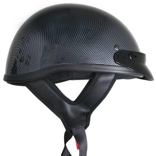 Outlaw T70 DOT Solid Carbon Color Design Half Helmet with Visor - Large