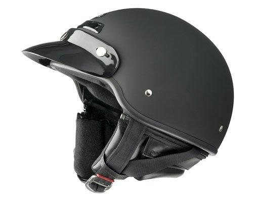 Raider Deluxe Motorcycle Half Helmet with Visor Flat Black Large