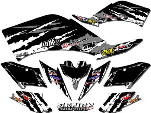 Senge Graphics 2007-2016 Kawasaki KFX 50 Shredder Black Graphics Kit