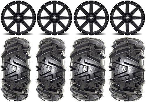 Bundle - 9 Items MSA Black Clutch 12 ATV Wheels 26 Moto MTC Tires 4x110 Bolt Pattern 10mmx125 Lug Kit