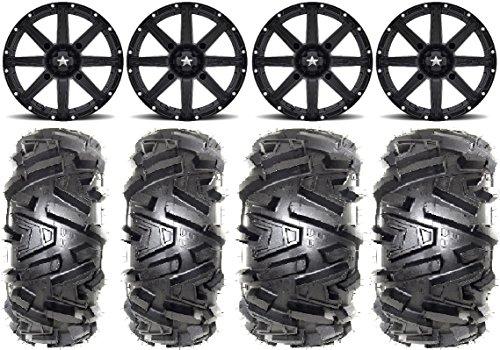 Bundle - 9 Items MSA Black Clutch 14 ATV Wheels 26 Moto MTC Tires 4x137 Bolt Pattern 10mmx125 Lug Kit