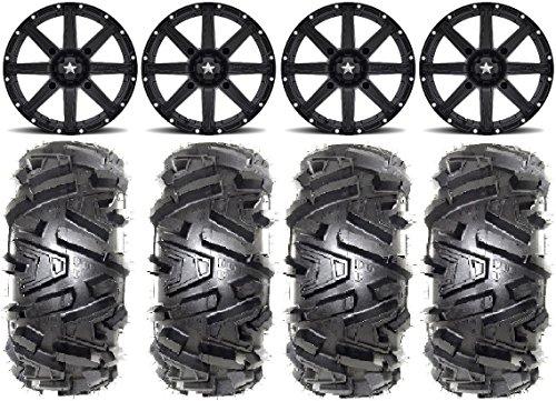 Bundle - 9 Items MSA Black Clutch 14 ATV Wheels 28 Moto MTC Tires 4x156 Bolt Pattern 10mmx125 Lug Kit