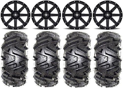 Bundle - 9 Items MSA Black Clutch 15 ATV Wheels 28 Moto MTC Tires 4x156 Bolt Pattern 10mmx125 Lug Kit