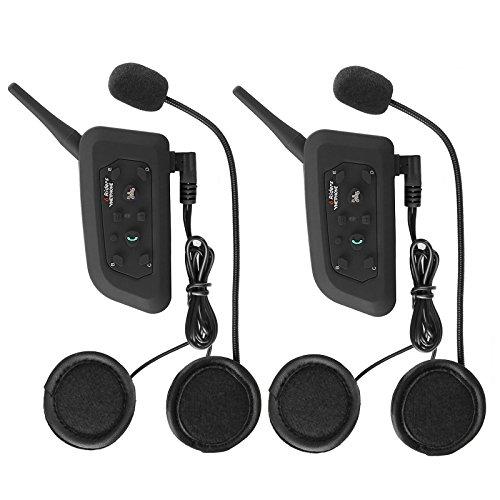 Motorcycle Helmet Bluetooth Headset Intercom Full-face Sports Speaker Low Profile Wireless Headphone 6 Riders Communicator 500m Talk for Riding Trip Cruise Offroad Snow Vnetphone2 Pack