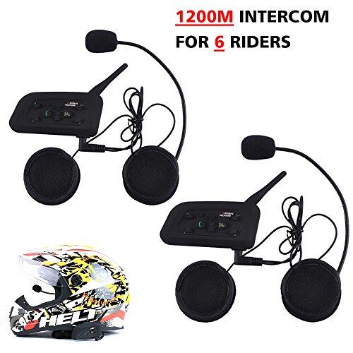 Motorcycle Helmet Bluetooth Intercom Headset V6 BT 1200M Range 6 Riders Wireless Interphone Speakers IP65 Waterproof Communication Systems Kit for Motorbike Skiing Cycling Climbing