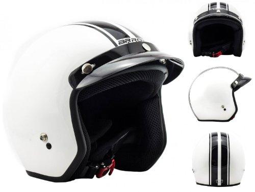 """Arrow · AV-47 """"White"""" white · Open Face Helmet · Motorcycle Jet Pilot Retro Scooter Motorbike · DOT certified · Click-n-Secure Clip · Carrier Bag · S 55-56cm"""