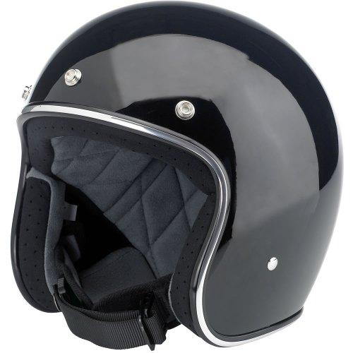 Biltwell Inc Bonanza Gloss Black Open Face Helmet Small