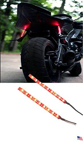 2x Red Auxiliary LED Brake Light  Rear Fog Light Strips for Motorcycles  Car Truck  ATV Shadz_LED