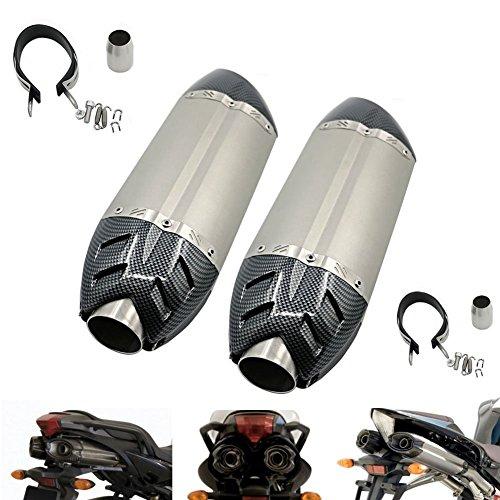 Alpha Rider Universal Motorcycle Carbon Fiber 51mm Slip-On Exhaust Muffler Double Exhaust Pipe For Yamaha MT-03 660 2006 - 2014  FZ6  FZ6 FAZER 2004 - 2011 Titanium