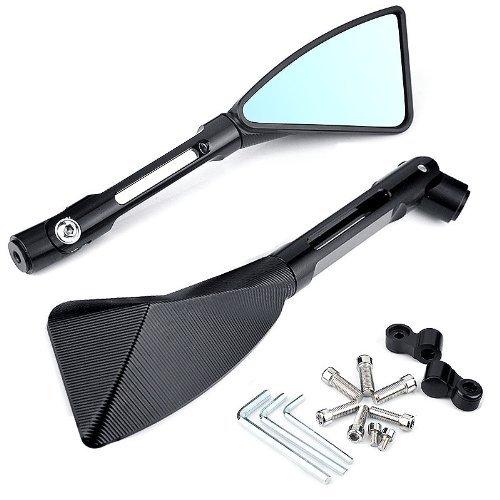 Black Triangle Demon Blade Style CNC Machined Billet Aluminum Rearview Side Mirrors 8MM 10MM Mounting Tool Bolts For Yamaha MT-01 MT-03 WR TDM TDR TW Fazer XJR TDM XJ XTZ V Max WR FZ1 FZ6 FZ8