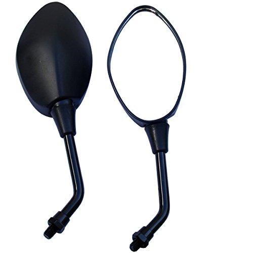 MotorToGo Black Oval Rear View Mirrors for 2000 Yamaha V Star 650 XVS650A Classic