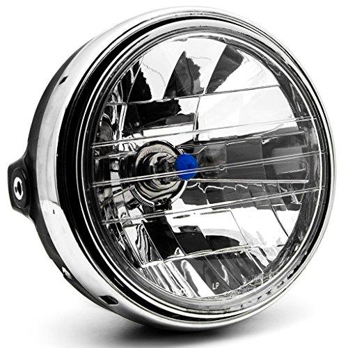 Krator 775 Chrome Headlight H4 Bulb Round Lamp for Yamaha V-Max Vmax V Max VMX 1200