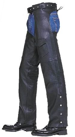 Mens Womens Motorcycle Cowhide Leather Biker Riding Chaps Pants Unisex Thigh Measurement 205  Small