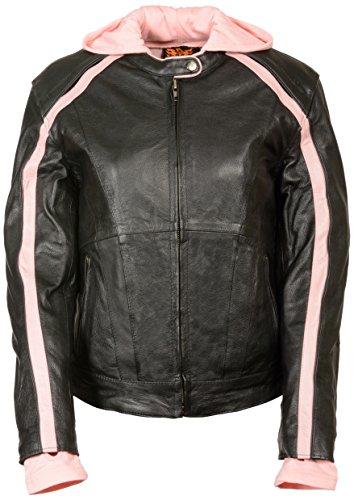 Leather King Womens Striped Jacket BlackPink X-Large