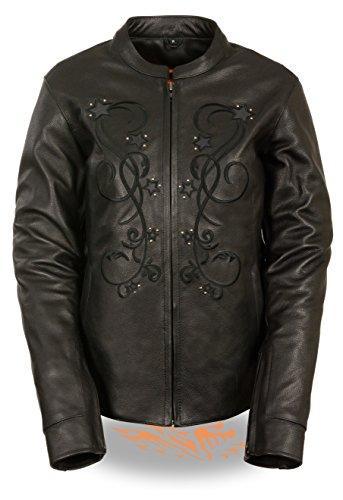 Milwaukee Leather Ladies Reflective Star Jacket w Stud Detailing Embroidery - Purple Pink Black Versions Medium Black