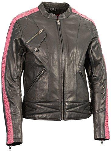 Milwaukee Leather Womens Jacket with Ribbon Detail BlackFuchsiaHot Pink Large