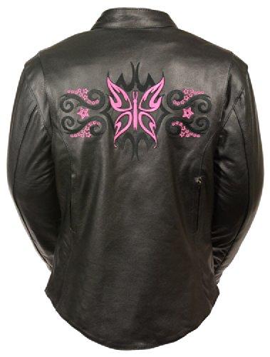 Milwaukee Womens Leather Jacket BlackFuschiaHot Pink XX-Large