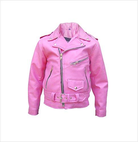Toddler to Kids Basic Motorcycle Leather Jacket AL2803 Pink S