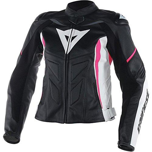 Dainese Avro D1 Womens Leather Motorcycle Jacket BlackWhiteFuchsia Pink 44 Euro6 USA