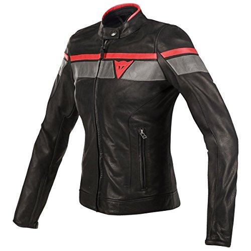 Dainese BlackJack Womens Leather Motorcycle Jacket BlackGrayRed 40 Euro