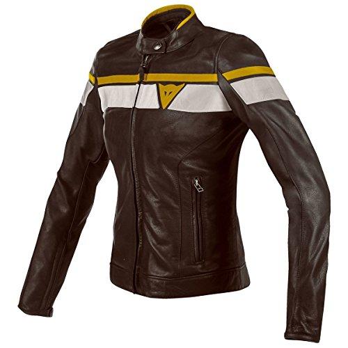 Dainese BlackJack Womens Leather Motorcycle Jacket Dark BrownWhiteGold 42 Euro