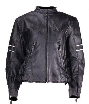 Womens Leather Motorcycle Jacket Reflective Arm Stripes Size 3XL XXX-Large