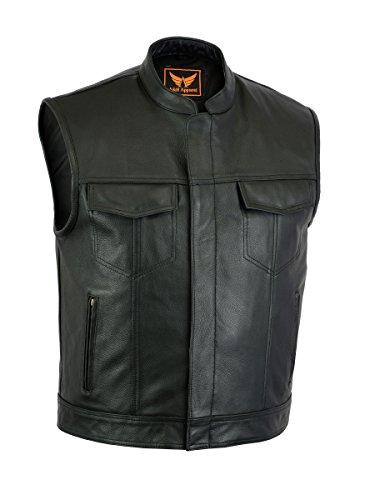 A&H Apparel Mens Genuine Cowhide Leather Vest Biker Vest Concealed Carry Durable Vest XX-Large