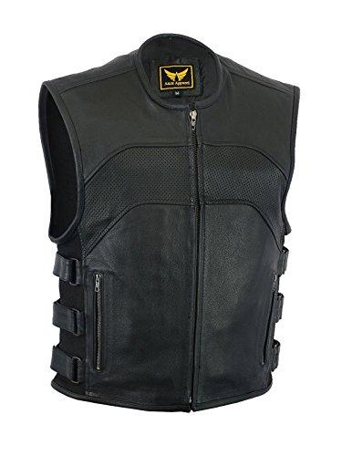 A&H Apparel Mens Motorcycle Biker Classic Vest Genuine Cowhide Leather Vest With Gun Pocket X-Large