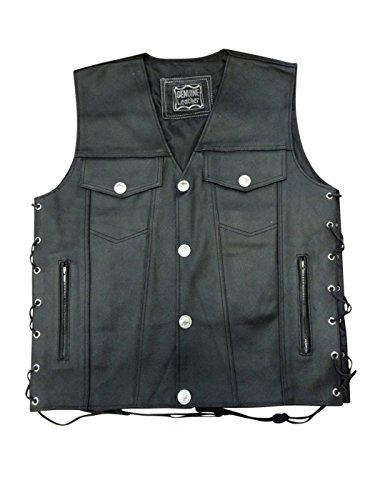 Mens Leather Buffalo Snap Motorcycle Biker Vest New XX-Large