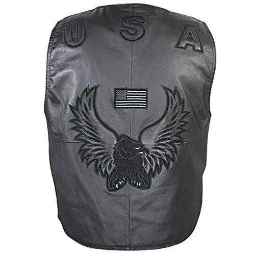 Mens American Eagle USA Black Leather Vest - Medium