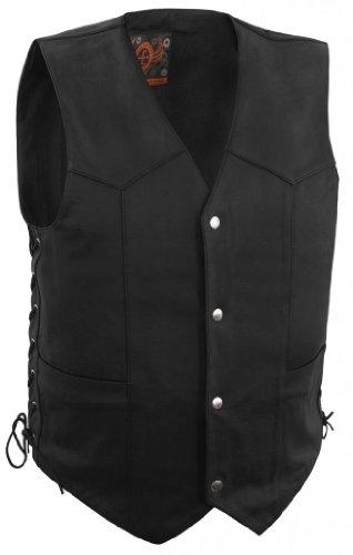 True Element Mens Basic Side Lace Adjustment Leather Motorcycle Vest Black Medium