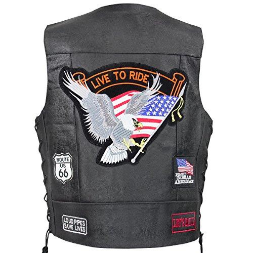 Xelement VP9160 Live to Ride Mens Black Leather Vest with Concealed Gun Pocket - Medium