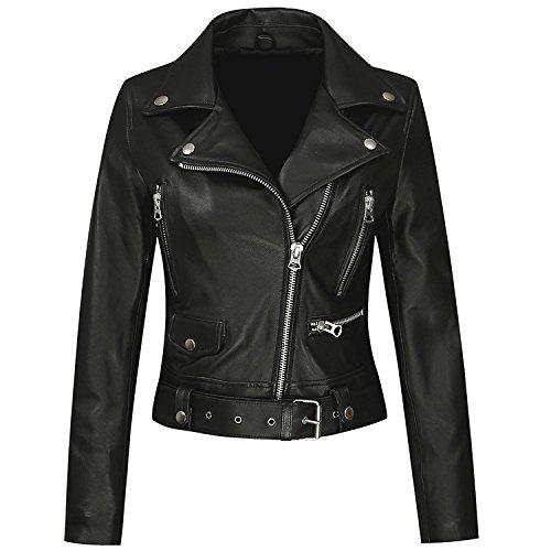 Anweer Womens Genuine Lambskin Leather Lapel Motorcycle Jacket S