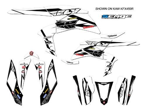 Senge Graphics 2003-2008 Kawasaki KFX 400 13 Fly Racing White Graphics Kit