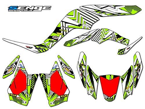 Senge Graphics 2007-2016 Kawasaki KFX 50 Mayhem Green Graphics Kit